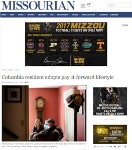 Articles - Columbia Missourian: Columbia resident adopts pay-it-forward lifestyle