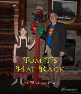 Tom and girl posing with hat rack for Tom T's Hat Rack