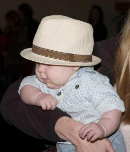 baby at Tom T's Hat Rack book signing
