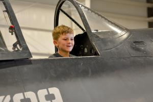 corsair private event_Jaxon smiling in plane