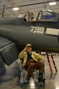 corsair private event_Purdy saluting in front of plane